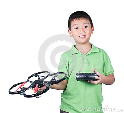 Free Little Boy Holding A Radio Remote Control (controlling Handset) For Helicopter , Drone Or Plane Isolated Royalty Free Stock Photo - 48569745