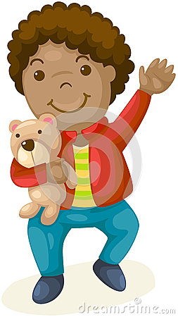 Little boy holding doll bear on white