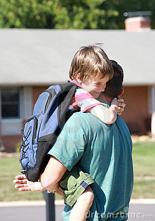 Free Little Boy Hugging Dad Stock Image - 3259481