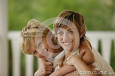 Little boy hugging his mother
