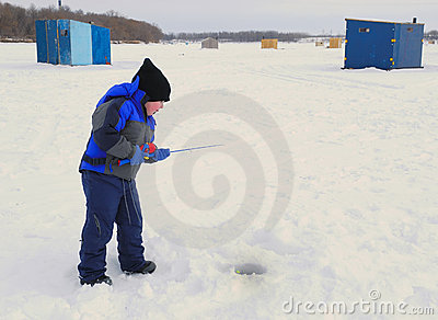 Little Boy Ice Fishing