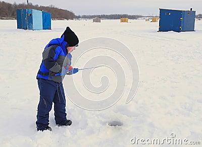 Little Boy Ice Fishing