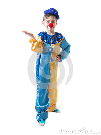 Free Little Boy In Clown Suit With A Cap And A Red Nose Is Showing Something With Hand Royalty Free Stock Images - 76200919