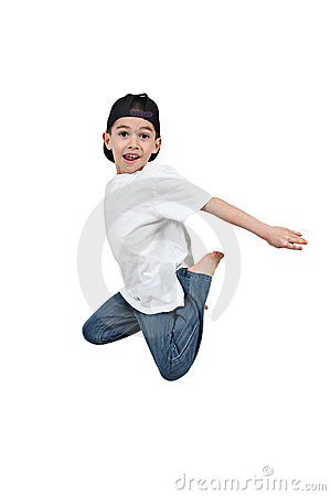 Little boy jumping on isolated