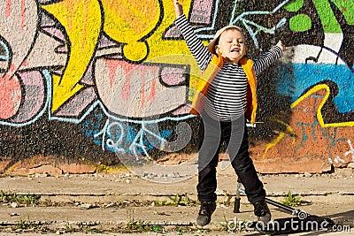 Little boy jumping for joy