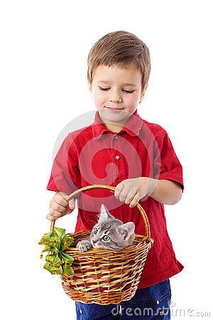 Little boy with kitten in basket