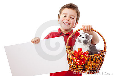 Little boy with kitty and banner