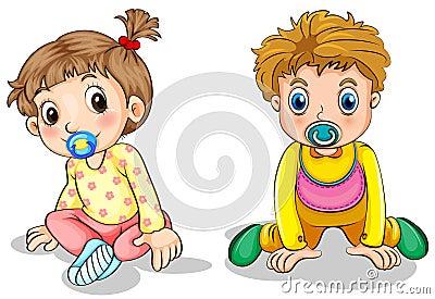 A little boy and a little girl