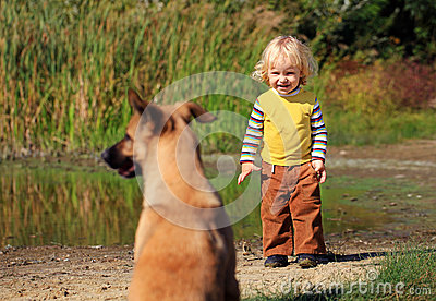 Little boy looking at a dog