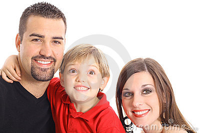 Little boy making funny face for family portrait
