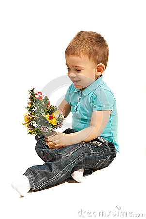 Little boy with miniature Christmas tree