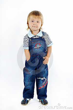 The little boy in overalls