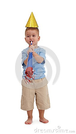 Little boy with party accessories
