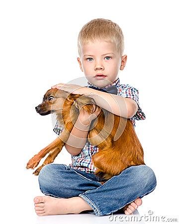 Little Boy Patting Dog Head. Isolated On White Background Stock Photo - Image: 53999140