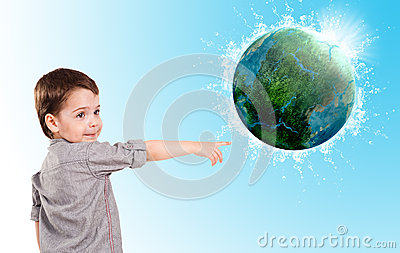 Little boy and planet earth.