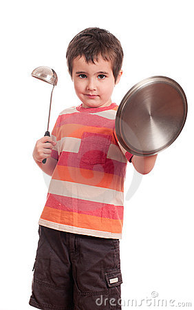 Little boy play knight with kitchen