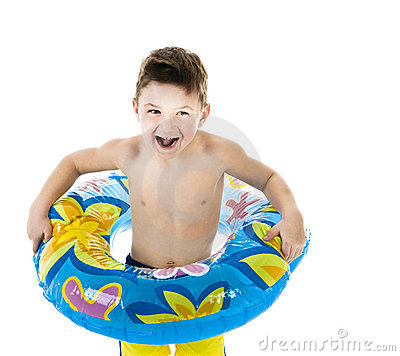 Little boy playing with a float