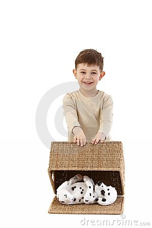 Little boy playing happily
