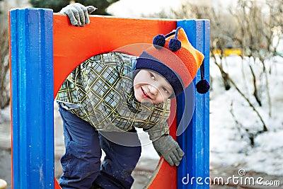 Little boy playing in a kindergarten
