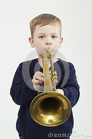 Free Little Boy Playing Trumpet.music Child.musical Instrument Royalty Free Stock Photo - 54876465
