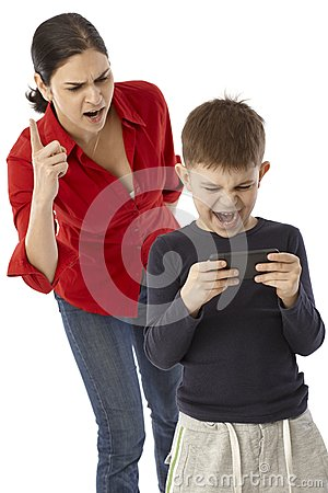 Free Little Boy Playing With Mother S PDA Royalty Free Stock Photo - 34135105