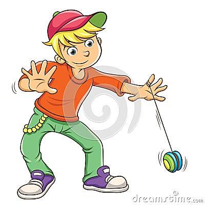 Little boy playing yo yo