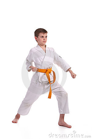 Little boy practice karate