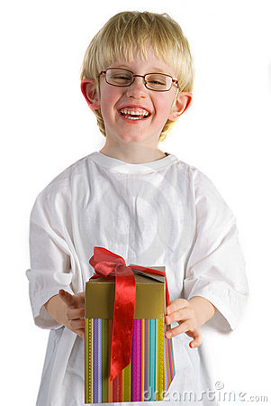 Little boy with present