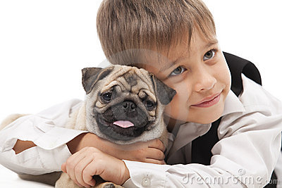 Little boy and the Pug-dog