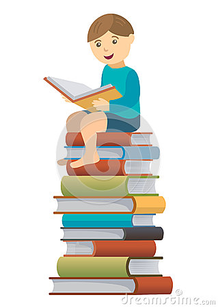 Little Boy Reader Stock Vector - Image: 53506215