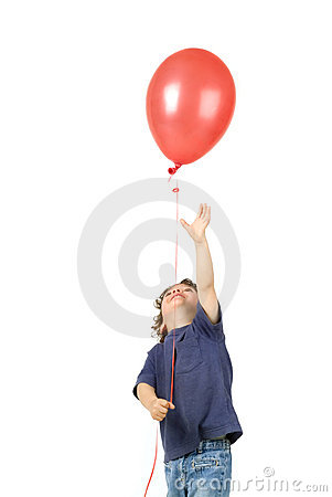 Free Little Boy Red Baloon Stock Photo - 4652750