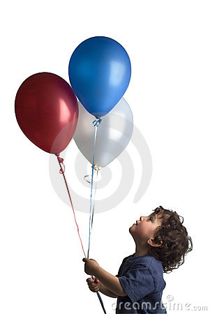 Little boy red blue and white balloons