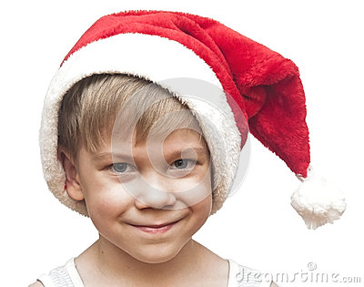Little boy in red santa hat