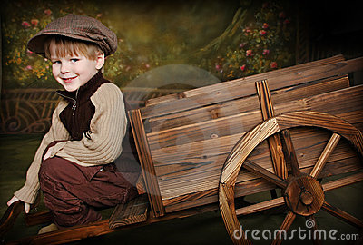 Little Boy with Rustic Wagon