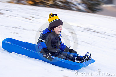 Little Boy s First Sled Ride