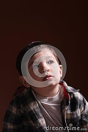 A little boy s thoughtful gaze.