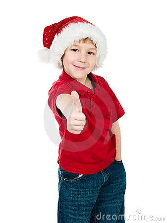 Little boy in the santa claus hat
