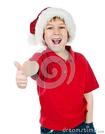 Little boy in the santa claus hat