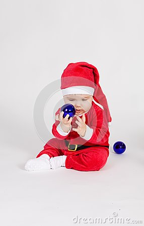 Little boy in Santa clothes