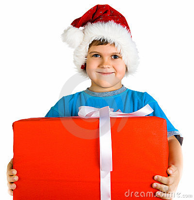 Little boy in santa hat with present