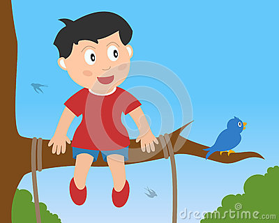 Little Boy Sitting on a Branch