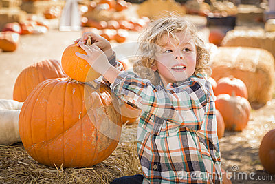 Little Boy Sitting and Holding His Pumpkin at Pumpkin Patch