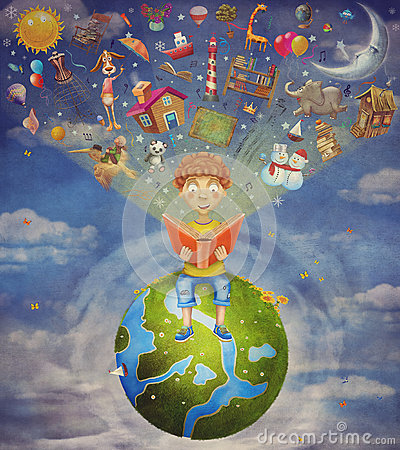Free Little Boy Sitting On The Planet And  Reading  Book Stock Images - 59220284