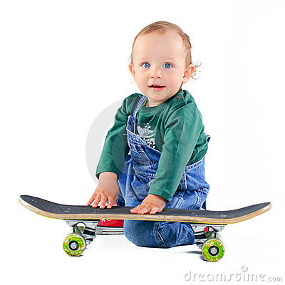 Little boy on a skateboard