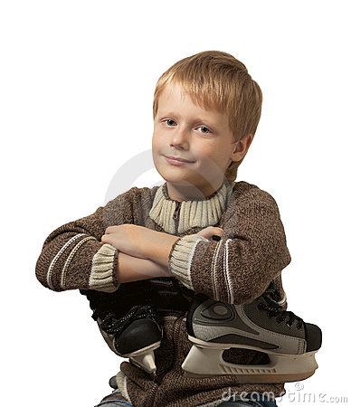 The little boy with the skates in sweater.