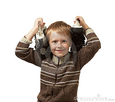 The little boy with the skates in a sweater