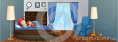 Little boy sleeping on bed Vector Illustration