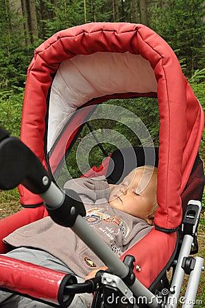 Free Little Boy Sleeping In Pram Stock Photo - 15891930