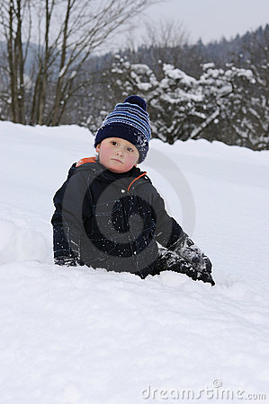 Little boy on snow