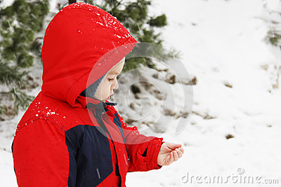 Little boy and snowflakes
